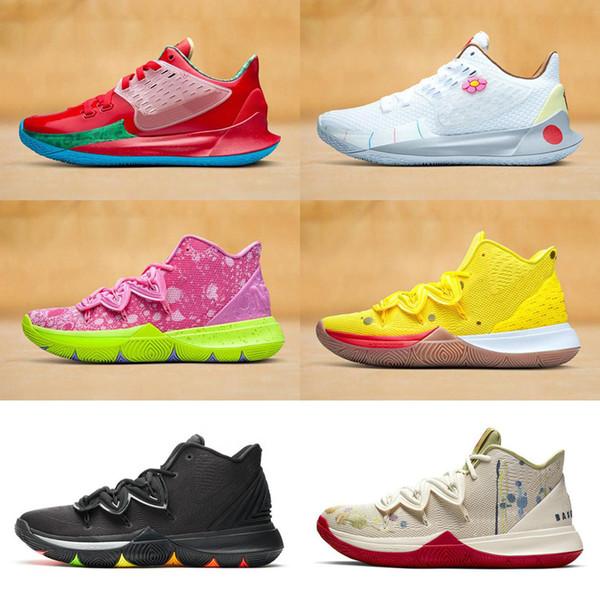 Дизайнерская Звезда Kyrie 5 Губка Боб Желтая Практическая Обувь для Баскетбола Мужс