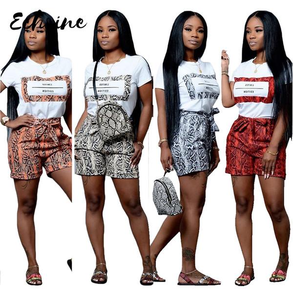 Echoine Femmes Imprimé Snakeskin 2 Pièces Ensembles T-shirt À Manches Courtes D'été Short Décontracté Survêtement Survêtement S / XXL