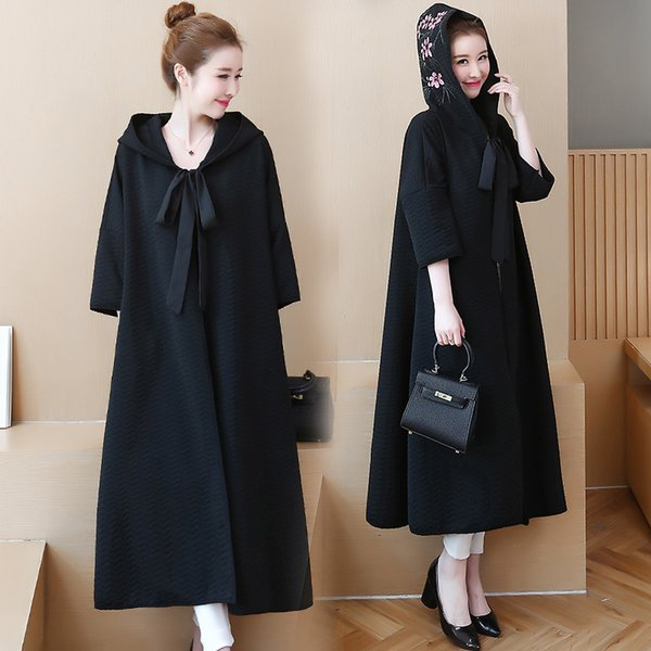 new chinese style embroidery cloak trench coat with hood casual solid color loose elegant female dresses
