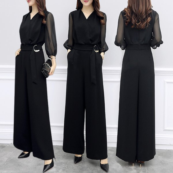 2018 Summer Women V-neck Chiffon Jumpsuits Elegant Ladies Black Party Wide Leg Jumpsuits j190723