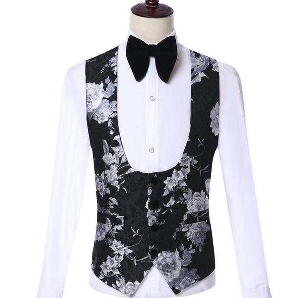 Custom Made Colete De Casamento Dos Homens Negros Floral Design de Moda Terno Colete Partido Dos Homens de Negócios Noivo Terno Colete 2019