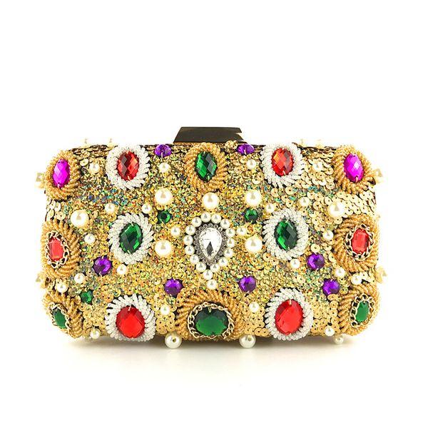 Sparkling Diamond Evening Clutch Bag Multi Color Bridal Crystal Clutch Handbag Purse Women Pearl Evening Minaudiere Bag Party Handbag Purse
