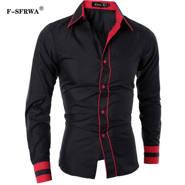F-SFRWA Camisa Dos Homens 2019 Marca de Moda dos homens de Cor Sólida Longo-Camisa de Manga Comprida Masculina Camisa Masculina Casual Magro Chemise Homme XXL