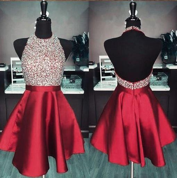 Compre 2019 Borgoña Joya Vestidos De Fiesta Barato Una Línea De Lentejuelas Con Cuentas Vestido De Fiesta Corto Dulce 16 Niñas Vestido De Graduación