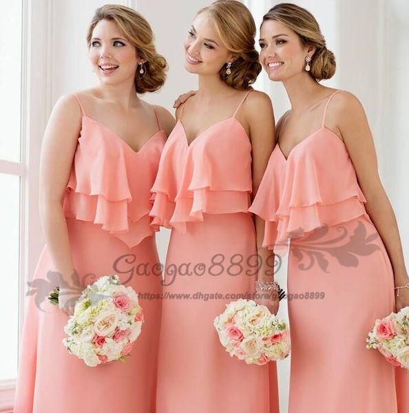 2019 new chiffon Bridesmaid Dresses Spaghetti V-neck with zipper Wedding Guest Dresses custom made Maid Of Honor Dress Party Dresses Bride
