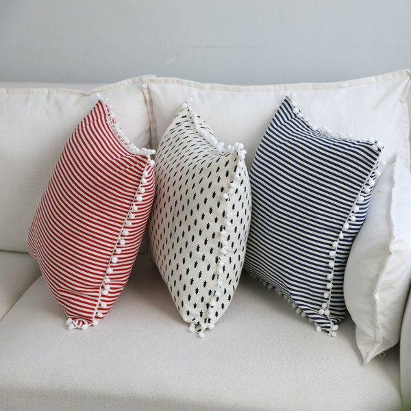Japonya Tarzı Pamuk Keten Gemotric Yastık Kılıfı Yastık Kılıfı Yastık Kılıfı Sevimli Pom Pom Topu Ev Tekstili 45 * 45 cm 1 ADET
