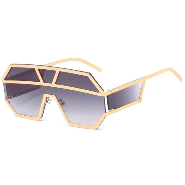 High quality dress lens sunglasses metal super large retro sunglasses unique flat large piece lens gold and silver frame sunglasses send box