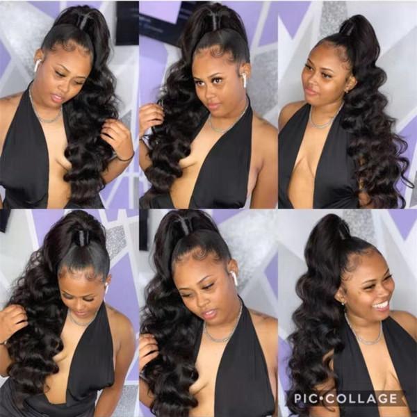160g Long high Body Wave Ponytail Wrap Drawstring, Virgin indain quality wavy weave ponytail hair extension for black women Brazilian Hair