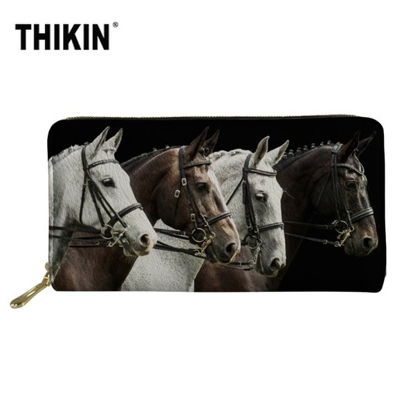THIKIN 3D Crazy Horse Print PU Leather Ladies Card Holder Wallets Women's Long Purse Large Capacity Clutch Phone Bag Wholesale