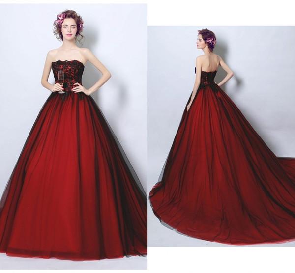 Sexy nero e rosso principessa 2019 abiti da sposa abiti da sposa senza spalline tulle applique pizzo corte treno sconto abiti da sposa nuovo a buon mercato
