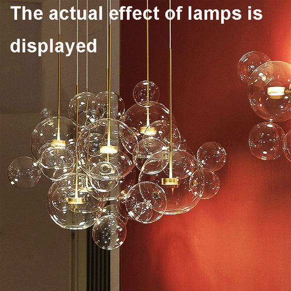 Clear Glass Ball Living Room Chandeliers Art Deco Bubble Lamp Shades Chandelier Modern Indoor Lighting Restaurant Iluminacao Brushed Nickel Pendant