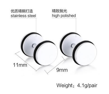 2019 Simple Trendy circular dumbbell pie earrings titanium steel stud Earrings for men boyfriend gift top quality wholesale 4 colors