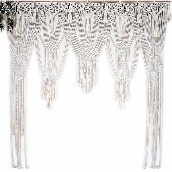 White Bohemian Macrame Handmade Knitting Cotton Rope Tapestry Wall Hanging Tapisserie Banner Tassel Craft Home Decor Textiles