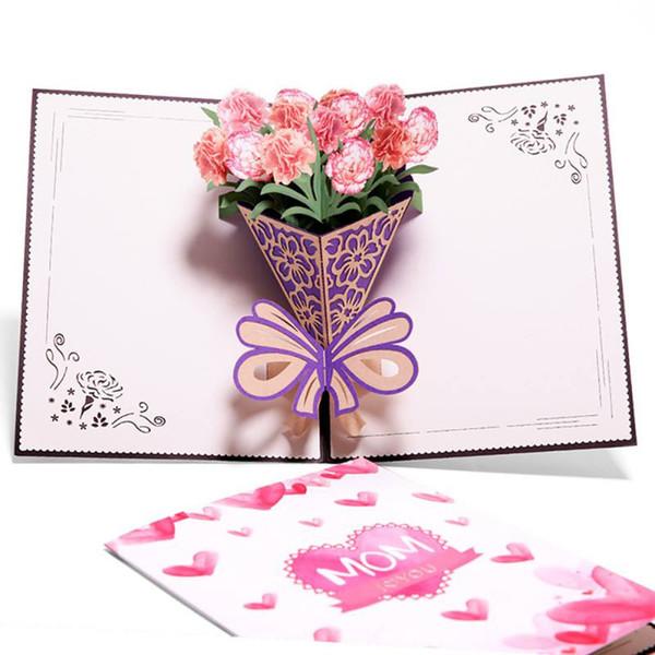 Compre Mamá Invitación De Cumpleaños Feliz Regalos Personalizados Invitaciones De Boda Día De La Madre Tarjetas De Felicitación Postal 3d Plegable