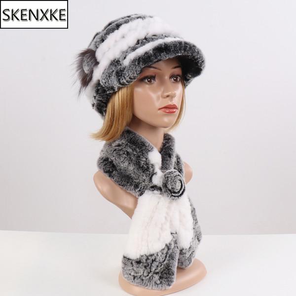 2019 nueva de la manera muchacha casquillo de la piel Señora invierno natural Real Rex Sombrero de piel de la bufanda suite mujeres de calidad 100% Sombrero genuino del silenciador