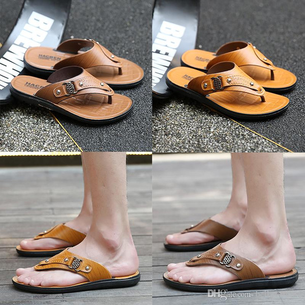 hot sale new Designer Mens Sandals Summer Stripped Slippers For Men Leather Flip Flop Summer Hawaiian Beach Rubber Shoe Male Flats Sandals