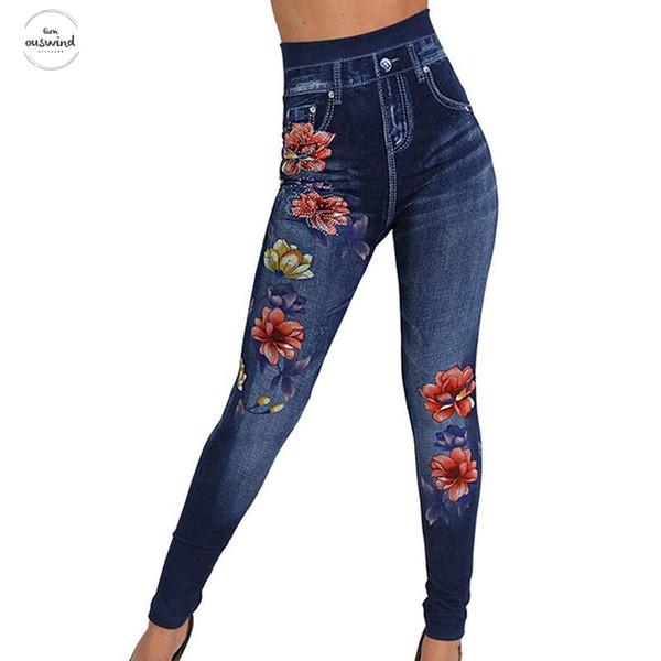 Mode schlanke Frauen-Gamaschen-Bleistift Holes Herz-Druck reizvoller Faux-Denim-Jeans-Leggings beiläufige Frauen Kleidung Plus Size