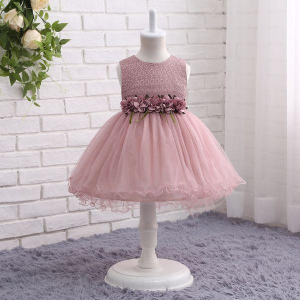 Flower Girl Dresses Pink Green Grey Short Front Long Back Pageant Abiti per ragazze Glitz Holy Comunione