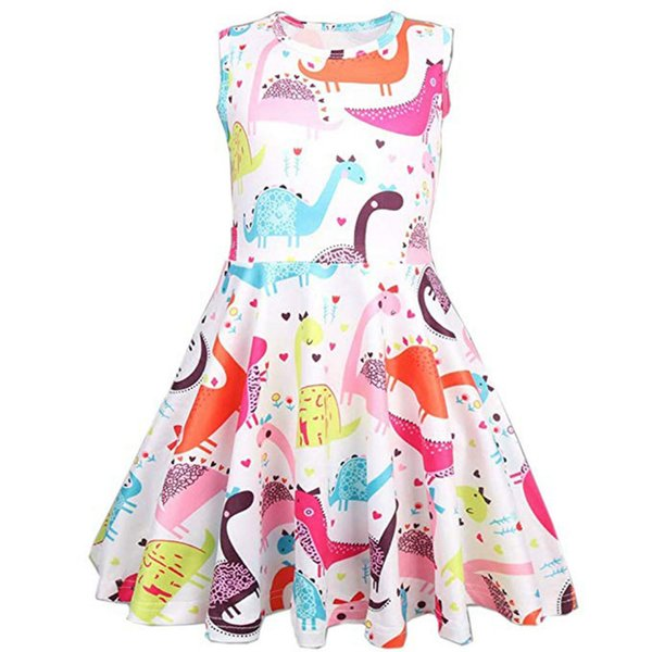 Little Girl Ceremonies Dress Polyester Wedding Party Gown Cartoon Dinosaur Print Casual Princess Dresses for Girls Clothes k0308