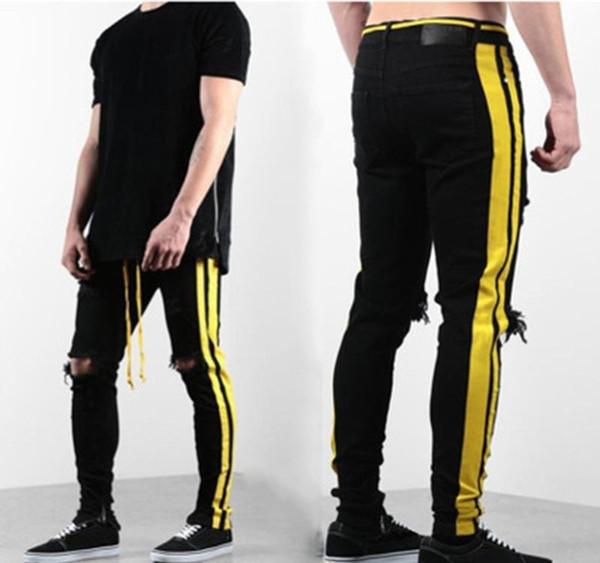 Erkek Jeans Erkek Sıkıntılı Fermuar Skinny Jeans Erkekler Hip Hop Pantolon Erkek Tasarımcı Delik Yüksek Qualiy Denim Pantolon 3 Renkler