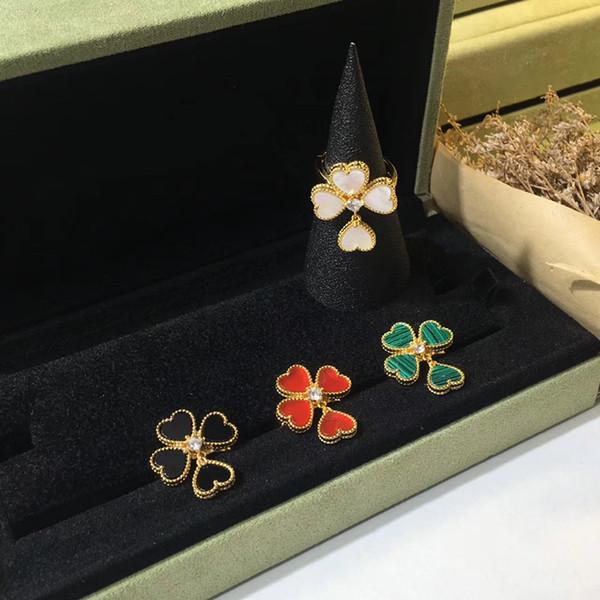 2019 Kadınlar Için Sıcak Marka Kalp Çiçek Moda Takı Çiçek Renkli Taş Kalp kabuk akik Düğün Takı Yüzükler Fransa kalite
