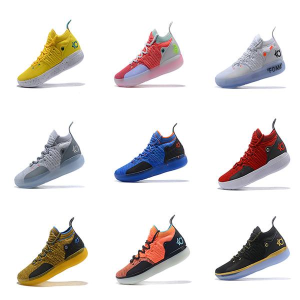 2019 Yeni KD 11 BHM Paranoyak Sarı Mavi Siyah Beyaz Kvein Durant Basketbol Ayakkabıları Üst Kuatily Spor Mens Ayakkabı Boyutu 40-46
