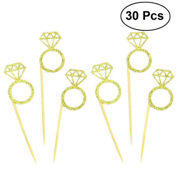 ring design 30pcs Wedding Cupcake Toppers Glitter Diamond Ring Design for Weddings Bridal Showers Party Supplies