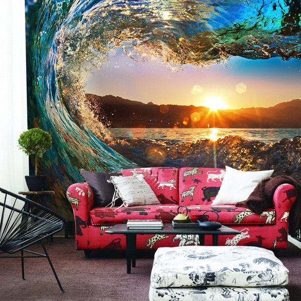 3D Wall Murals Wallpaper Landscape Ocean Sunsets Roll Wave Custom 3D Photo Wallpaper Living Room TV Sofa Backdrop Embossed Paper