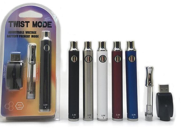 wickless vape cartridge electronic cigarette kit blister packing 650mah VV mode pen battery vaporizer 510 co2 oil smoking pen set DHL free