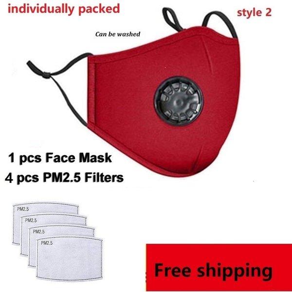 1 PC roter Maske + 4 Stück Filter (style2)