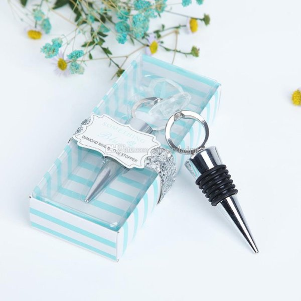 Wedding Favor Crystal Diamond Ring Wine Bottle Stopper For Birthday Bridal Baby Shower Party Gifts Blue Box Packing DHL Free Shipping