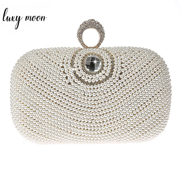 Fashion Exquisite Pearl Clutch Bags Women Crystal Diamond Evening Bags Elegant Female Clutches Purse for Wedding Chain Handbags