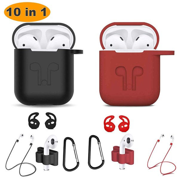 Airpods Accessories Kits, 10 in 1 Protective Silicone Cover Skin Apple Anti-Lost Strap, Watch Band Holder, Airpods Ear Hook, airpods case
