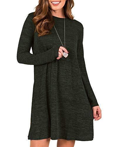 Blooming Jelly Women's Plain Tunic Dress Long Sleeve Casual Sweater Mini Dress