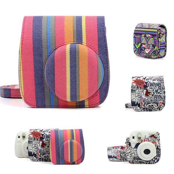 For Instax Mini 8 8+ 9 Camera Accessories Stripe Comics Canvas Instant Camera Shoulder Bag Protector Cover Case Pouch