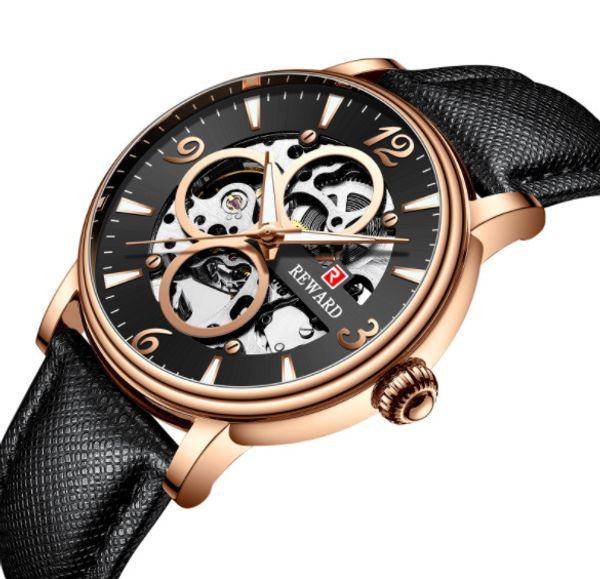 2019Top qualidade mens de luxo relógios Leatherwear pulseira de aço mostrador transparente automático movimento espelho relógio de mergulho
