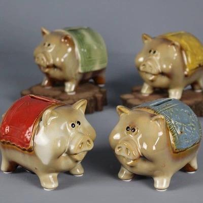 Mini adornos de cerdo lindo para niños ahorran dinero alcancía muebles para el hogar artesanía de cerámica rico pequeño bebé rojo tanque de almacenamiento de cerdo