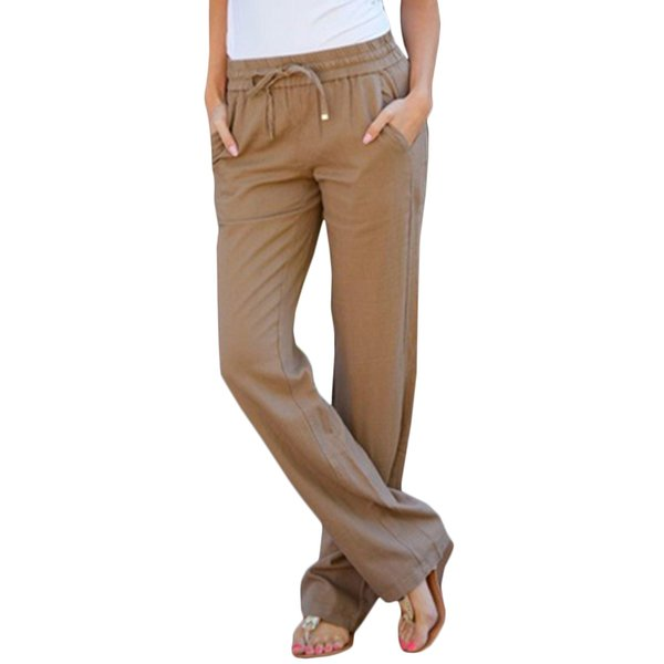 In Summer 2017 Fashion Linen Elastic Waist Pants All-Match Loose Candy Colored Women's Casual Pants Trousers