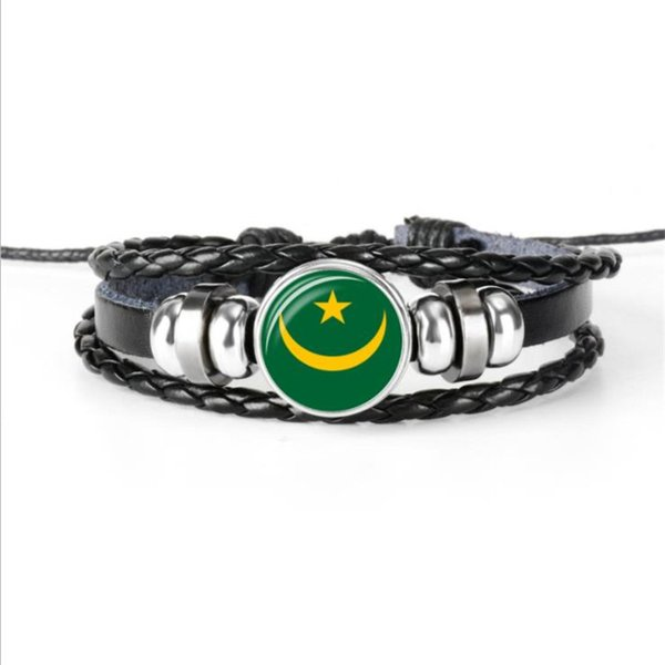 Women Men Cowhide Leather Rope Beaded Button Cuff Bracelets Silver Color Glass Cabochon Mauritania National Flag World Fashion Jewelry Gifts