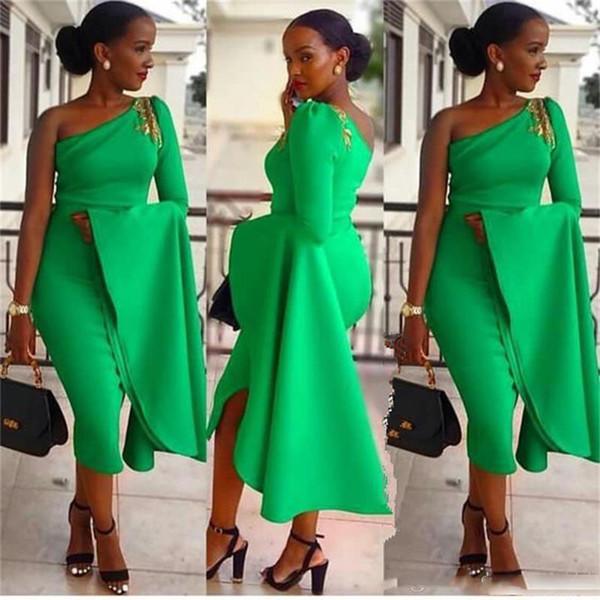 Зеленый одно плечо Платья для выпускного вечера Южноафриканская оболочка с длинными рукавами Вечерние платья Молния Назад Формальное вечернее платье Дешево