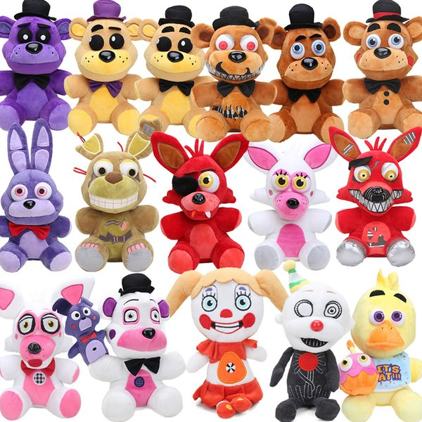 25cm FNAF Freddy Fazbear Plush Toys Five Nights At Freddy's Golden Bear Nightmare Cupcake Foxy Balloon Boy Clown Stuffed Dolls