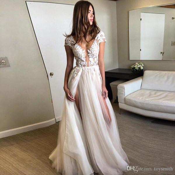 Sexy Split 2019 Wedding Gowns Deep V Neck Appliques Backless High Slit Beach Boho Princess Bridal Gowns Cheap Custom Bride Dress