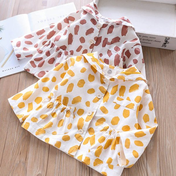Girls Baby Princess Yellow Red Color Dots Print Clothes Korean New Spring Holiday Fashion Kids Cute Jacket Outwears