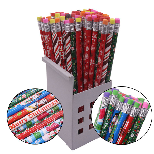 10 Pcs Christmas Pattern 187*8mm Eraser Wood Hb Pencil Color Pen Pole Children Students Painting Write Student Stationery