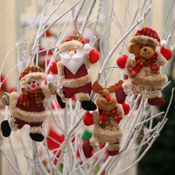 Merry Christmas Ornaments Christmas Gift Santa Claus Snowman Tree Toy Doll Hang Deer Bear Small Doll Decorations Christmas Window Scene