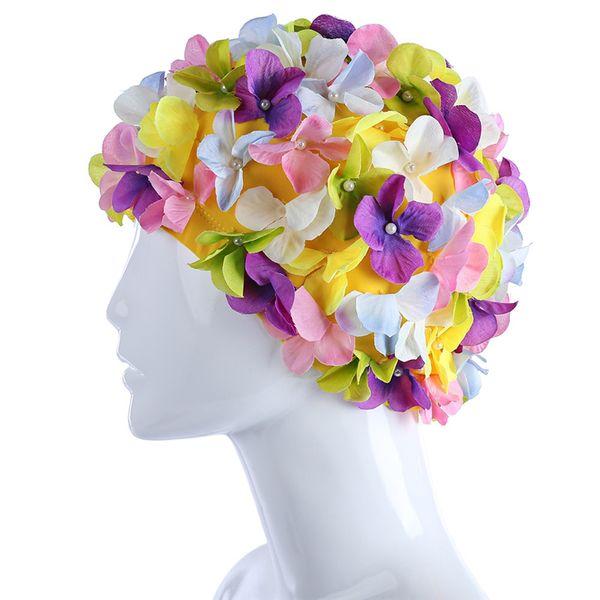 6 Colors Flowers Design Cap Delicate Swimming Cap Personalized Three-dimensional Petal Swimming Caps For Long Hair Sale