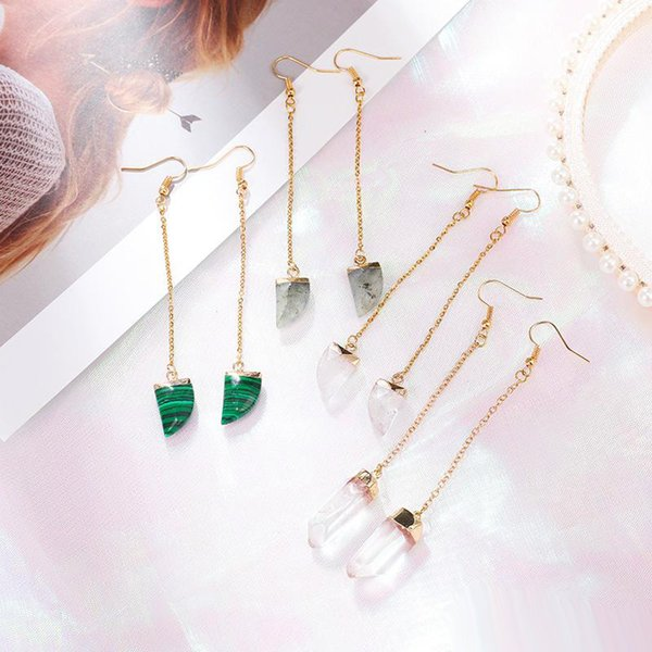 High Quality Long Stainless Steel Chain Dangle Drop Earring for Women Natural Stone Crescent Waterdrop Dangle Earring Fit Wedding Party