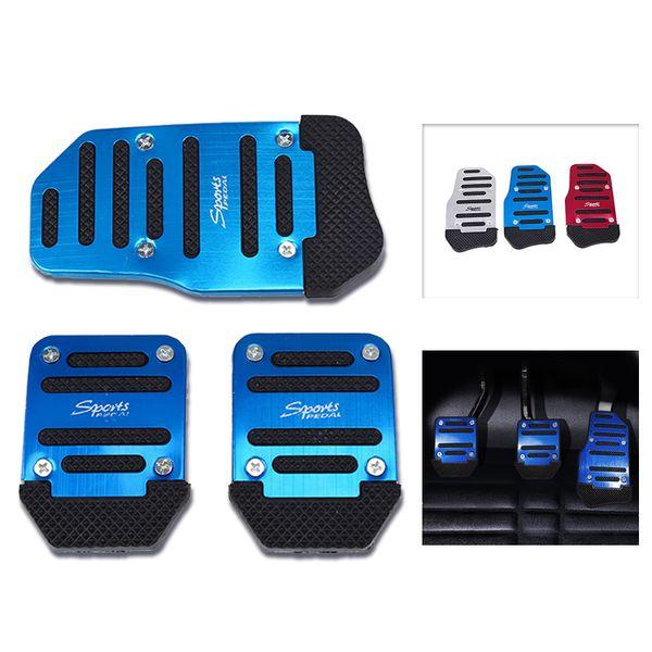 Universal Aluminum Manual Transmission 3 pcs Non-Slip Car Pedal Cover Set Kit