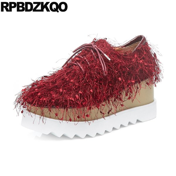 250a9720c harajuku women fringe creepers platform shoes embellished wedge thick sole  lace up square toe muffin tassel