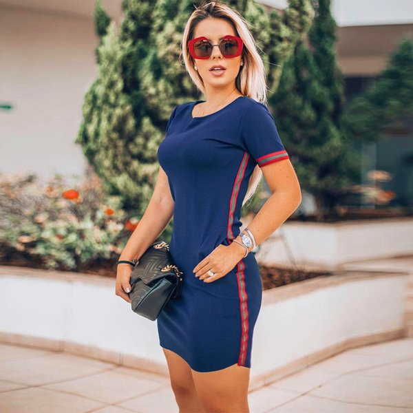 Yaz Çizgili Baskı Kadın Elbise Kadın Ekip Boyun Kısa Kollu Katı Elbiseler Rahat Bayanlar Tatil Moda Giyim